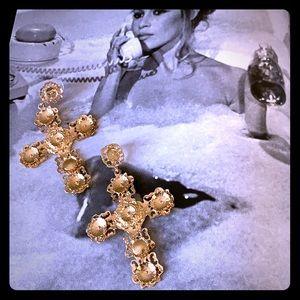 Jewelry - Chunky Gold Cross Earrings